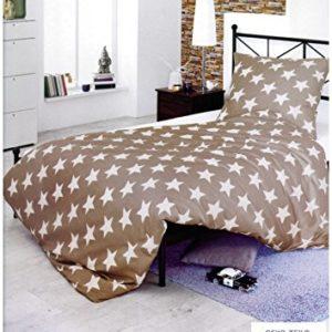 BRAND sseller poliéster cama de algodón–Color Beige con estrellas–Juego para almohada y edredón–con cremallera