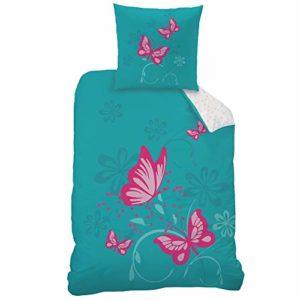 CTI Reversible Juego de sábanas Butterfly tamaño 135x 200cm 80x 80cm, 100% linón de algodón Turquesa Rosa Mariposas