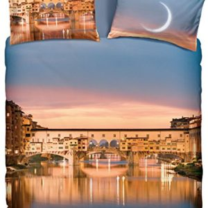 Bassetti–Juego de cama de matrimonio, con estampado ciudad de Florencia