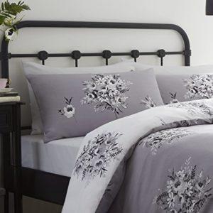 Catherine Lansfield Floral Bouquet - Funda nórdica y funda de almohada cama, 240 x 260 cm, color gris