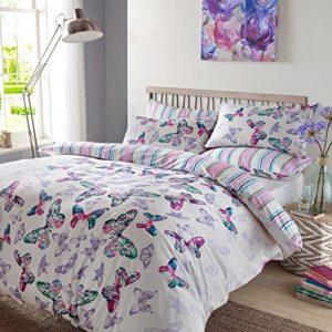 Dreamscene–lujo Mariposa a la acuarela juego de edredón con funda de almohada, poliéster/algodón, multicolor, doble