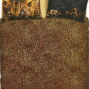 Bassetti - Juego de Funda nórdica Leopardo para Cama Individual, 100% algodón, 155 x 200 cm + 1 Funda de Almohada 50 x 80 cm