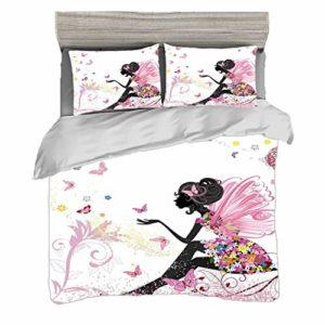 Juego de funda nórdica (150 x 200 cm) con 2 fundas de almohada Mariposa Ropa de cama con impresión digital Silueta abstracta de una niña con alas rosadas y un vestido floral Hada primaveral, multicolo