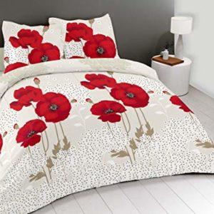Cflagrant® Funda nórdica con estampado de amapolas, colores rojo y gris, 220x 240, para2personas y con 2fundas de almohada de 65x 65cm. 100 % algodón, 57hilos