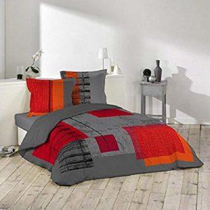 Douceur D'Intérieur 1640987, Juego de cama para 2 personas - Funda nórdica + 2 fundas de almohada - Estampado Quadro de 220 x 240 cm