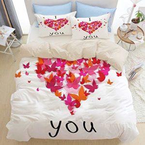 JISMUCI Bedding Juego de Funda de Edredón,Mariposa Corazón Figura Amor Imprimir,Microfibra Funda de Nórdico y Fundas de Almohada (Cama 150x200cm)
