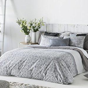 Antilo - Funda nórdica DEKA cama 180 - Color Gris (Juego duvet 3 piezas con saco nórdico, cojines decorativos y funda de almohada)