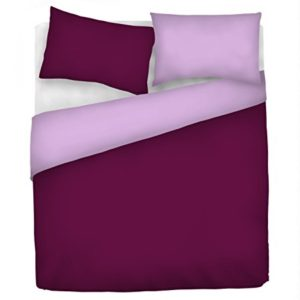 Italian Bed Linen Natural Doble Color y Funda de Almohada, Violeta/Ciruela, sìngolo
