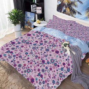 Conjunto de funda nórdica de 3 piezas, pétalos botánicos de belleza vibrante ornamental Esencia de la madre tierra Patrón decorativo decorativo, hipoalergénico, transpirable fresco, azul violeta, conj