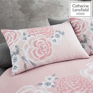 Catherine Lansfield Oriental Blossom - Juego de Funda nórdica y Funda de Almohada para Cama de Matrimonio, Color Rosa