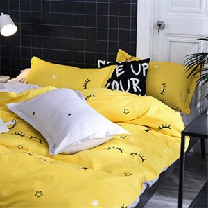 Morbuy Ropa de Cama, 3 Piezas Juego de Ropa de Cama con Funda de Edredón de 1 Microfibra de 2 Funda de Almohada 90% Polyester Diseño de Impresión (180x220CM, Pestañas Amarillas)