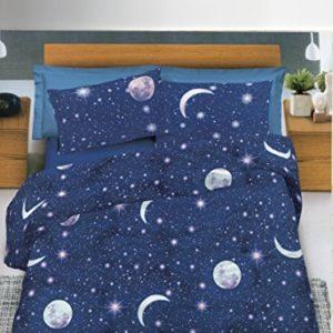Funda nórdica, 100% de algodón, para cama de 1plaza y media con diseño de noche con luna y estrellas