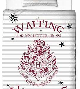 Character World Harry Potter - Juego de Funda nórdica y Funda de Almohada Reversibles (135 x 200 cm y 80 x 80 cm, 100% algodón, linón), diseño de Hogwarts