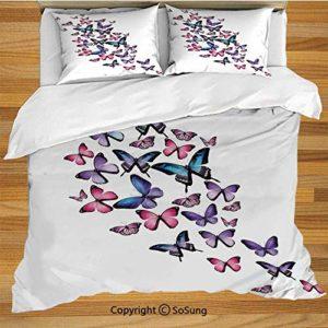 Juego de funda nórdica de cama azul marino y rubor, varias mariposas volando juntas Primavera Verano Inspirado en la naturaleza Juego de cama de 3 piezas con 2 fundas de almohada, azul violeta rosa