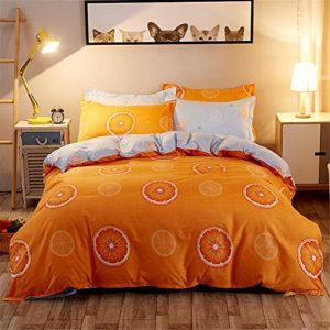 Juego de funda de edredón de 3 piezas, diseño estampado de frutas, de Zhizhen, Naranja, 150*200cm for 1.2M Bed