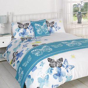 Dreamscene-Juego de cama en una bolsa, poliéster, blanco, azul/negro, doble