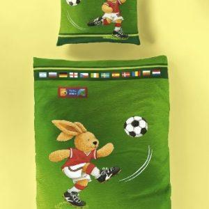 Bierbaum 2172_01 - Juego de funda nórdica infantil con estampado de fútbol (135 x 200 cm), color verde