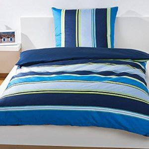 Bassetti Cama Azul Rayas, Juego de Cama, Funda nórdica de 135x 200cm, Acabado en algodón satén, con Cremallera, cantidad: 1Pieza