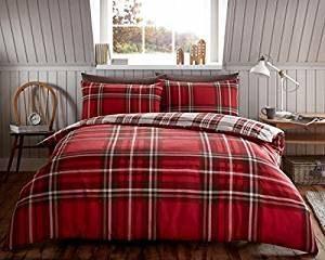 Juego de cama con funda nórdica, de franela, 100% algodón cepillado, cálido y acogedor, diseño a cuadros con ciervos, algodón, Tartan Check Red, matrimonio