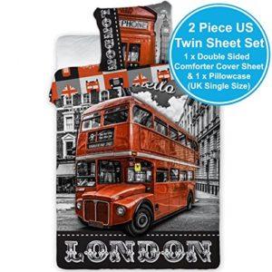 Juego de cama, autobús de Londres - Funda nórdica reversible, para cama individual