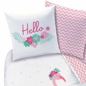 CTI - Juego de Ropa de Cama de Franela, diseño de flamencos y Flores Tropicales, Reversible, Funda de Almohada de 80 x 80 cm, Funda nórdica de 135 x 200 cm, 100% algodón, Color Rosa Turquesa