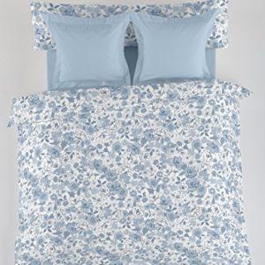 ES-Tela - Juego de Funda nórdica Estampada Erica (4 Piezas) - Color Azul - Cama de 90 cm. Incluye Funda(s) de cojín - 50% Algodón / 50% Poliéster - 144 Hilos