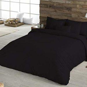 BOHEME Funda nórdica Lisa Color Negro 100% algodón Cama 150 cm
