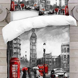 Adam Home 3D Cubierta nórdica de impresión Digital - London Big Ben - Individual, Doble, Rey, Súper Rey, Emperador