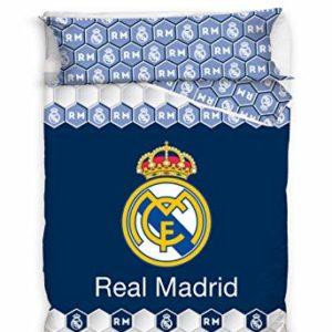 Real Madrid Juego de Cama 2 Pieza. Funda Nórdica + Funda de Almohada. Producto Oficial (150x220cm + 45x110cm) RM182059